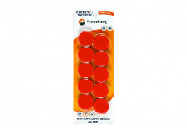Магнит для магнитной доски Forceberg 30 мм, красный, 10шт.